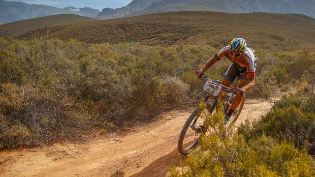 Ein Mountainbiker in einer Landschaft mit vielen Sträuchern.