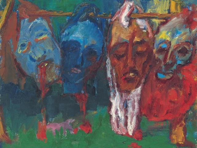 Ein Gemälde: fünf farbige Köpfe hängen an einem Ast.