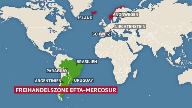 Die Freihandelszone Efta-Mercosur auf einer Karte abgebildet.