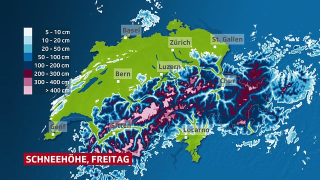 Eine Karte mit den Schneehöhen.