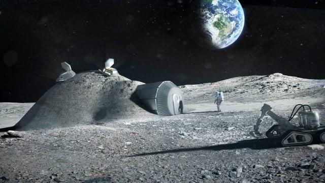 Die Monderoberfläche karg, eine kleine Raumstation, davor ein Astronaut und ein Fahrzeug. Im Hintergrund am Himmel ist die Erde sichtbar.