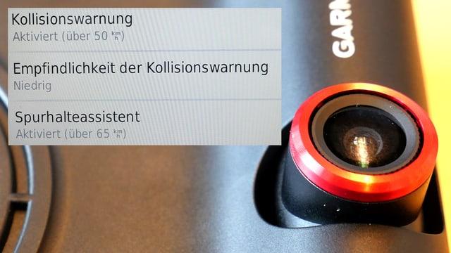 Die Kamera der Garmin Nüvicam und ein Screenshot des Assistenten-Menüs (Kollisionswarnung und Spurhalteassistent)