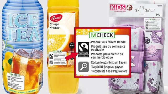 Drei Produkte mit M-Check-Etikette