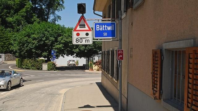 Ortsschild der Solothurner Gmeinde Bättwil.