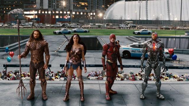 Die Superhelden in «Justice League» (v.l.n.r.) Aquaman, Wonder Woman, The Flash, Cyborg