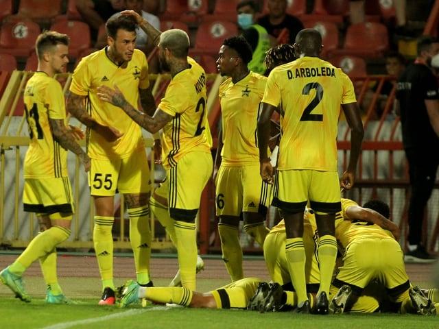 Die Spieler von Sheriff Tiraspol nach einem Tor in der 3. Runde der CL-Quali gegen Roter Stern Belgrad.