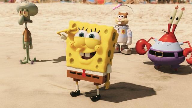 SpongeBob, Thaddäus, Mr. Krabs und Sandy sind am Strand.