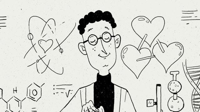 Eine Illustration von Nino Christen zeigt einen verliebten Mann.