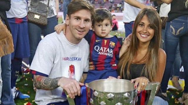 Lionel Messi und seine Frau Antonella mit Söhnchen Thiago.