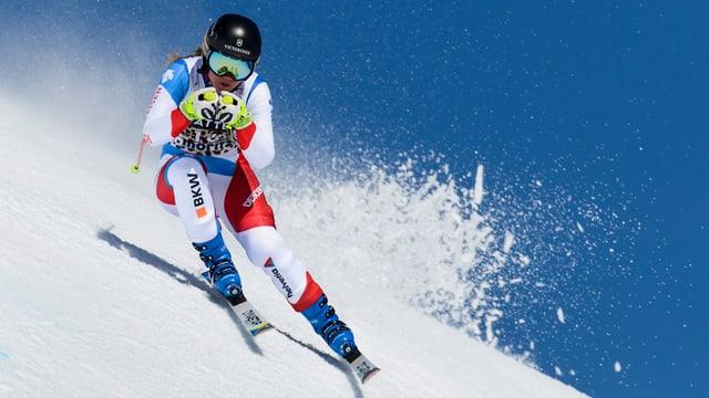 Fabienne Suter während einem Training am Weltcupfinale in St. Moritz.
