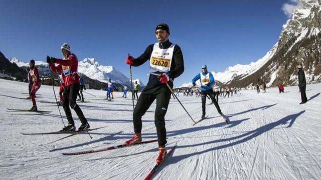 Einige Langläufer auf einem Streckenabschnitt des Engadiner Skimarathons