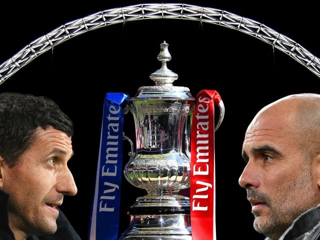 Gracia links und Guardiola rechts in der Fotomontage mit dem FA Cup und dem Stadionbogen von Wembley