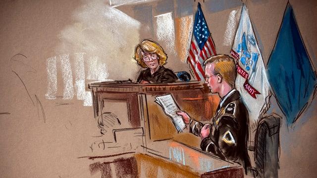 Gerichtszeichnung zeigt Bradley Manning und die Richterin