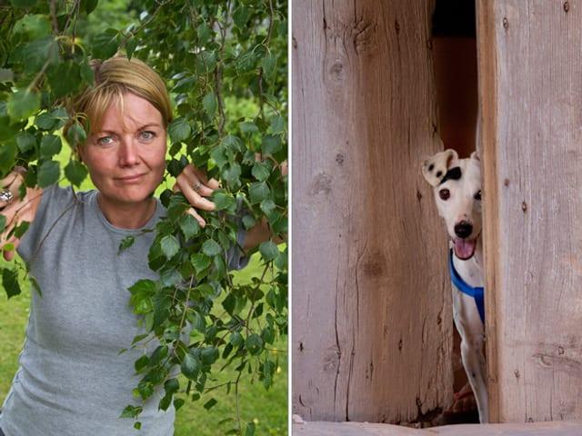 Frau hinter Blättern und Hund hinter Türe.