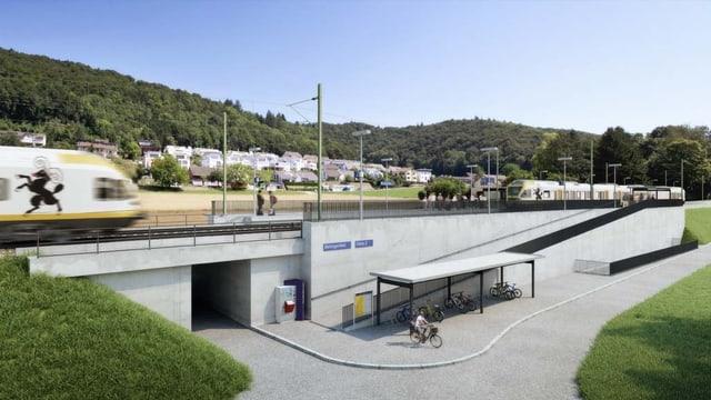 Die Visualisierung der S-Bahnhaltestelle in Beringfeld mit Unterführung und einfahrender S-Bahn.