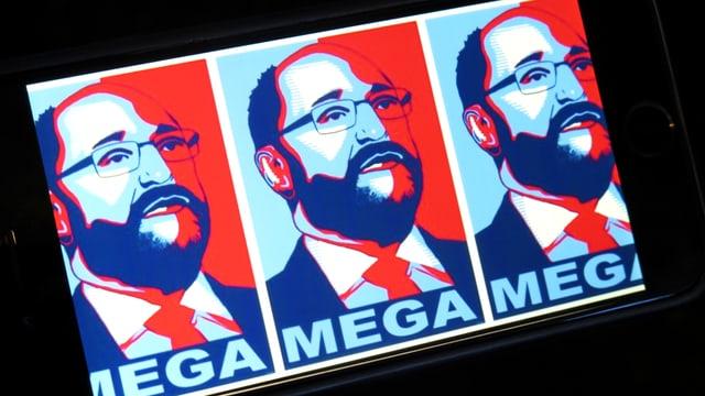 Illustration: Gesicht eines Mannes in rot und blau, darunter steht: MEGA.