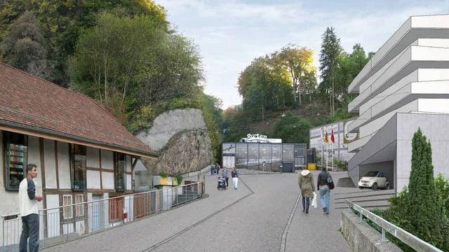 Der Vorplatz der Gurtenbahn-Talstation in Wabern soll zu einem Bahnhofplatz ausgebaut werden