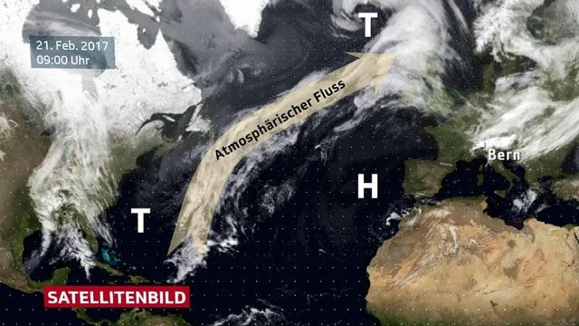 Ein Satellitenbild des Nordatlantiks. Eingezeichnet ist ein Pfeil der von Puerto Rico bis nach Grossbritannien reicht.