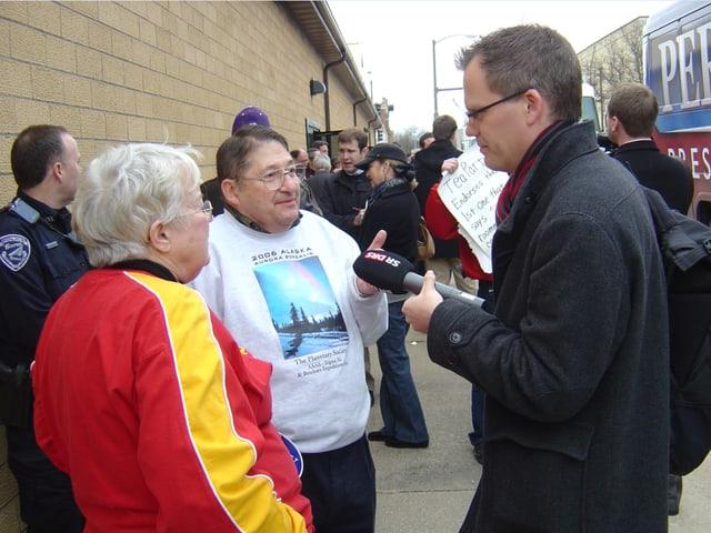 Soltermann bei einem Interview in Iowa.
