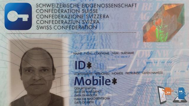 Eine Identitätskarte mit Mobile-ID-Logo.