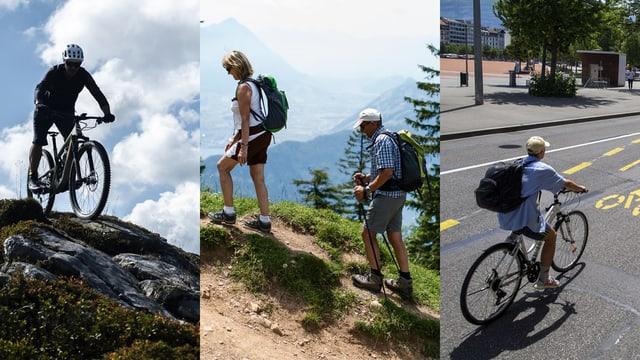 montascha cun viandantas e velocipedistas