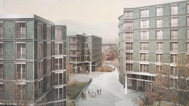 Visualisierung der Wohnblöcke im Plus-Energie-Quartier