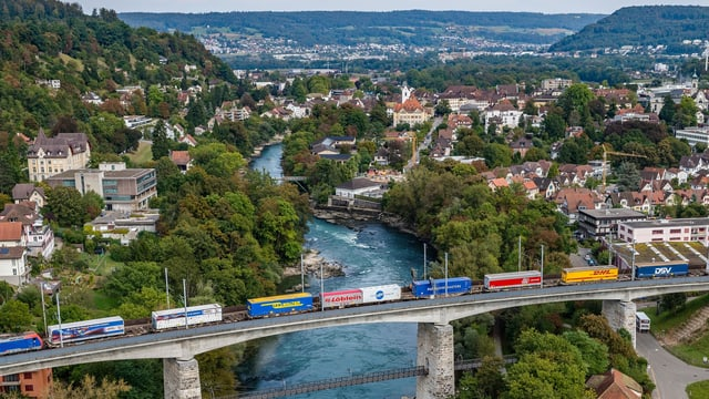 Ein Güterzug mit Lastwagenauflegern auf einer Brücke.