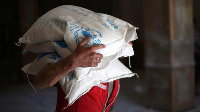 Ein Mann trägt weisse Reissäcke mit der Aufschrift «WFP».