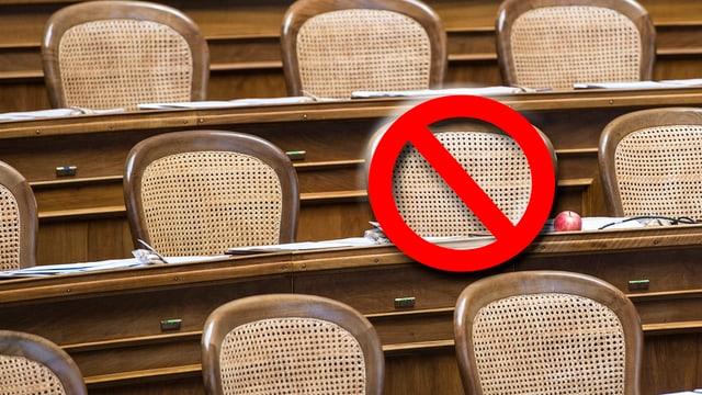 Leere Stühle im Nationalrat, ein Stuhl mit Verbotszeichen