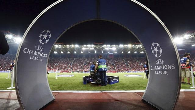 Die Siegertribüne der champions League