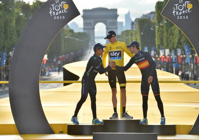 Quintana (l.) und Valverde (r.) wollen Froome vom obersten Treppchen verdrängen.
