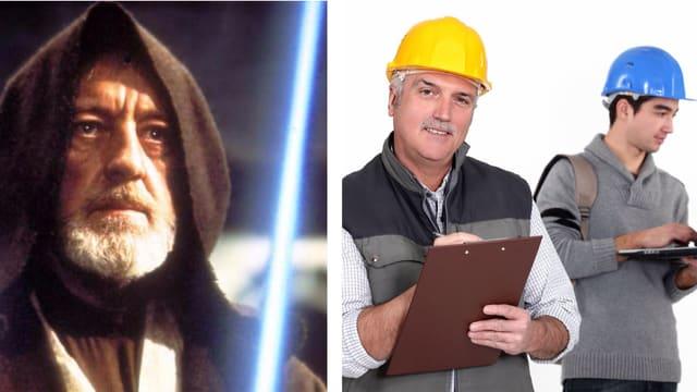 Collage: Obi Wan Kenobi und Meister mit Lehrling auf dem Bau