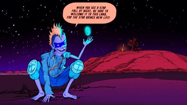 Comic: Ein Punk hält einen schwebenden Kristall in seiner Hand.
