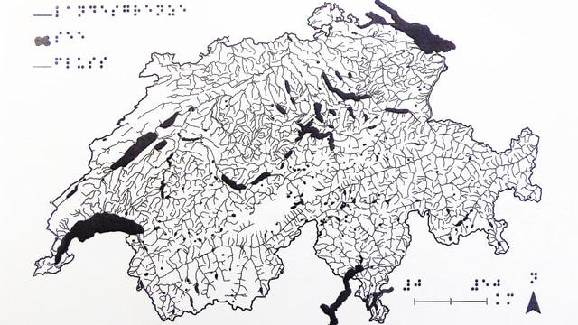 Schweizerkarte mit Brailleschrift.