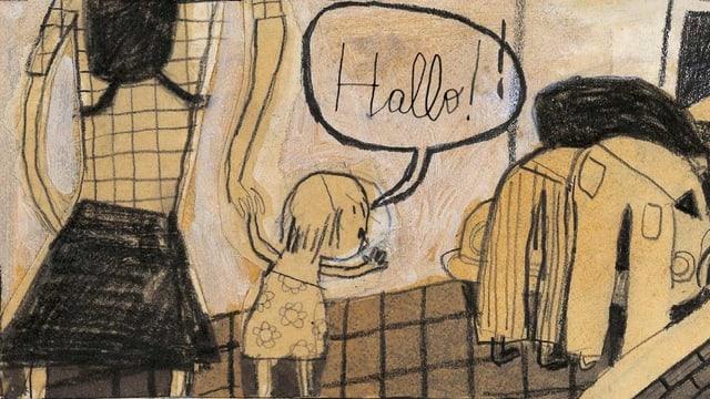 """Eine braun-schwarze Zeichnung: Ein Mädchen hält die Hand ihrer Mutter. In der Sprechblase steht """"Hallo!""""."""""""