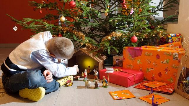 Ein Junge sitzt vor einem Weihnachtsbaum, unter dem mehrere Geschenke liegen.