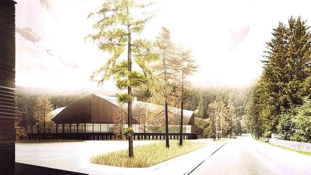 Visualisaziun dal nov stadion da glatsch a Tavau.