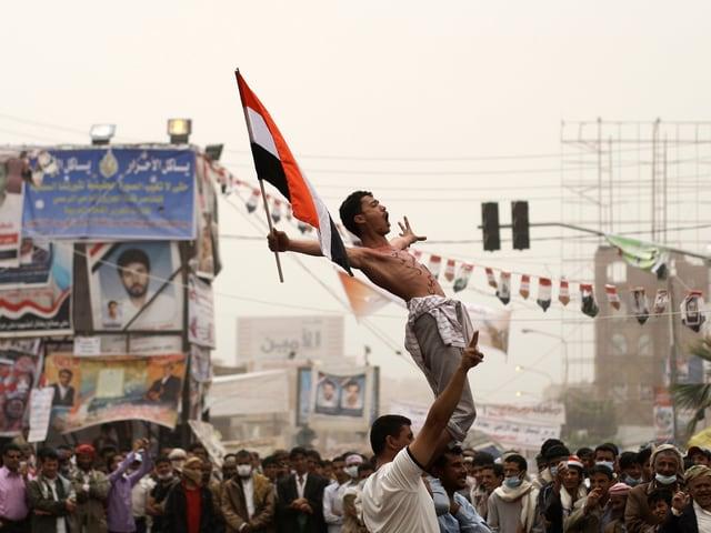 Demonstrationen 2011 gegen Präsident Saleh.