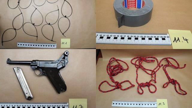Pistole, Klebeband, Stricke, Kabelbinder auf Polizeifotos