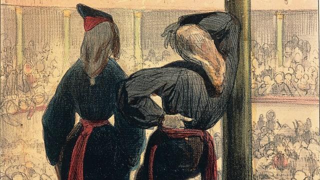 Zwei Frauen schauen stehend in einen Opernsaal