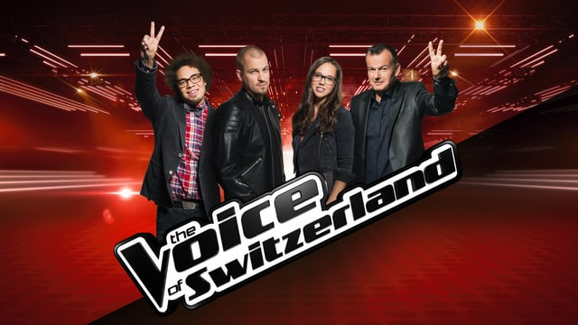 Logo von The Voice of Switzerland mit den vier Coaches