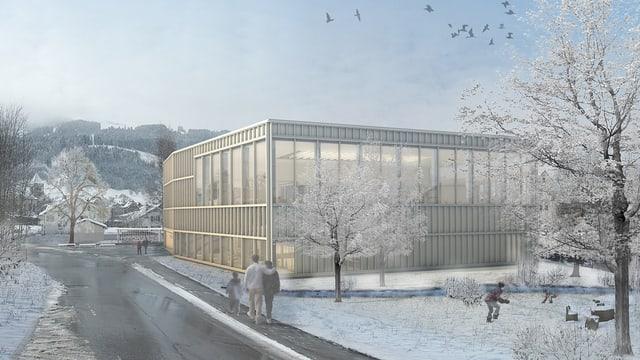 Modell des geplanten Hallenbads