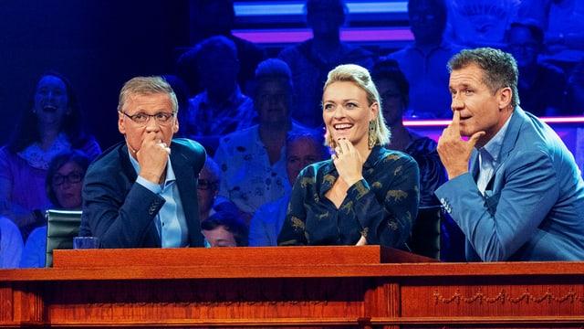 v.l.: Günther Jauch, Susanne Kunz und Armin Assinger.