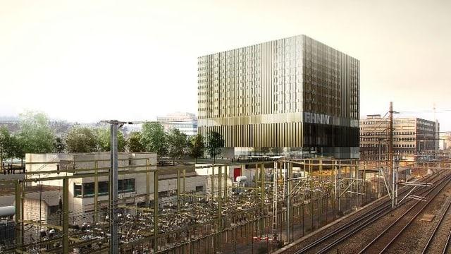 Blick auf den Neubau der FHNW in Muttenz. Es ist eine Computer-Visualisierung.
