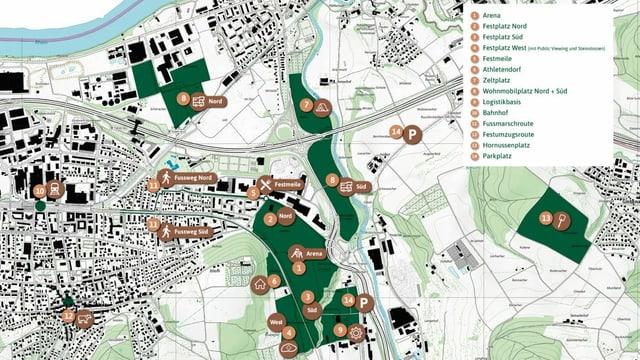 Karte mit Details zu Standorten