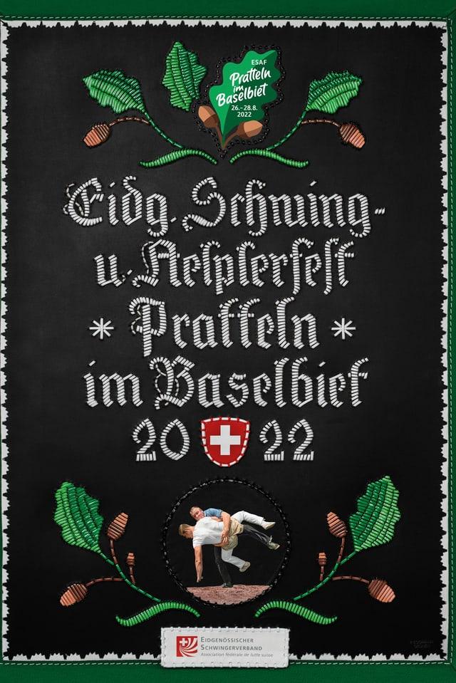 Plakat mit Stickereien