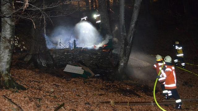Feuerwehr löscht Brand im Wald