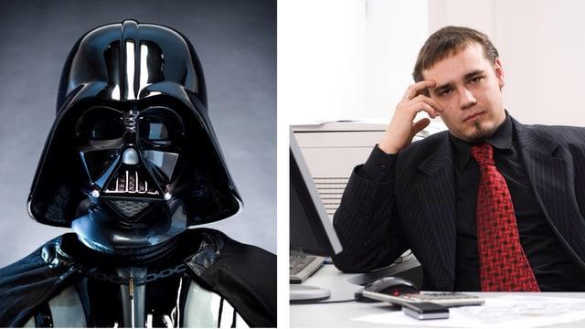 Collage: Darth Vader und genervter Chef am Pult