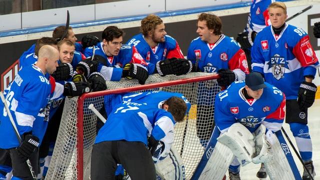 Eishockey-Mannschaft vor einem Spiel.