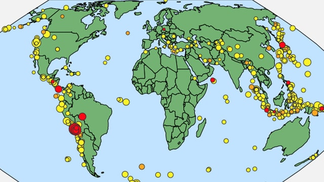 Weltkarte mit Punkten, wo die Erde gebebt hat.